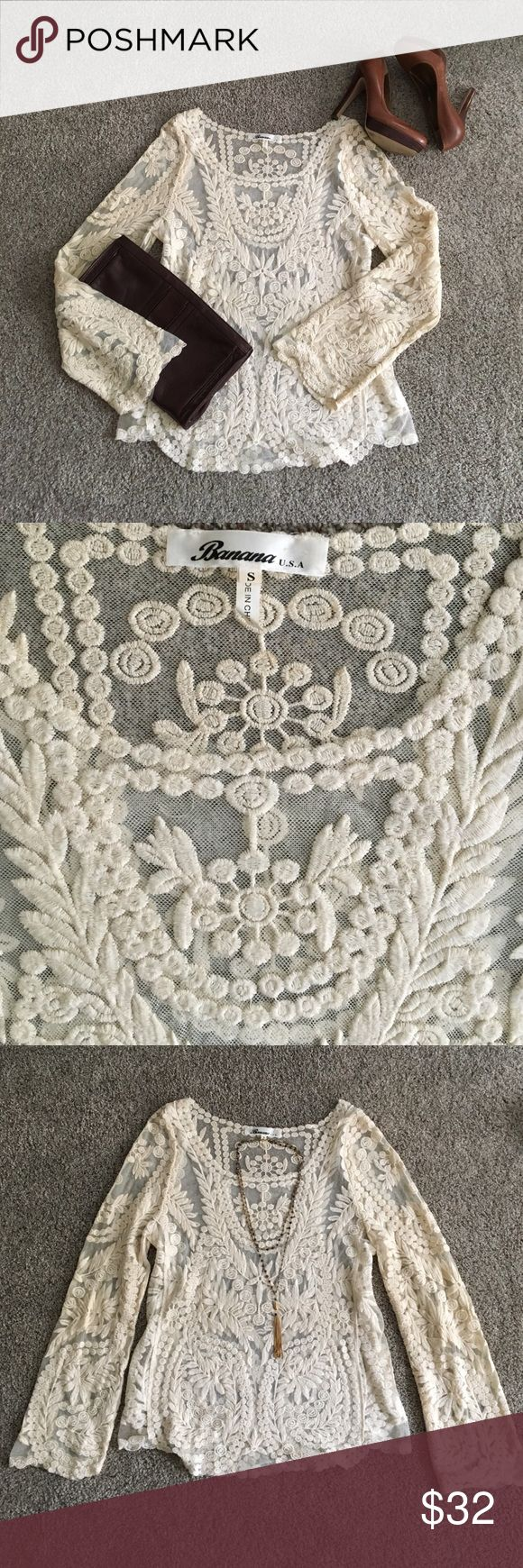 Cream Lace Top Gorgeous embroidered lace detail with flowy sleeve & scalloped lace edges. Great condition! Banana USA Tops