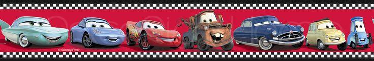 "disney cars checkered wallpaper border | Disney Cars 'Speed' Wallpaper Border 4"" Red Self Adhesive"