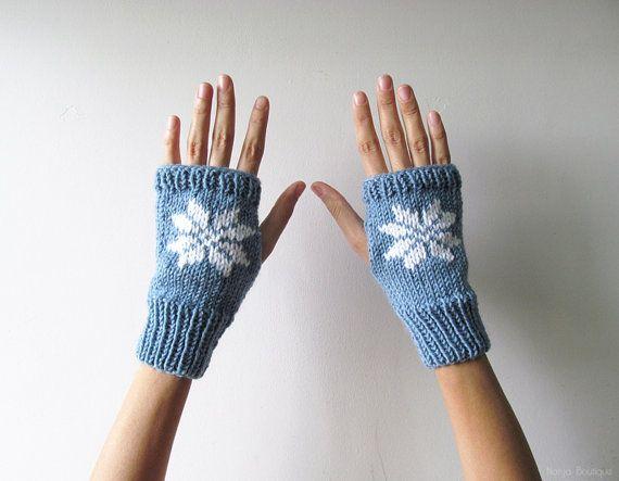 Hand Knit Fingerless Gloves in Denim Blue  Embroidered