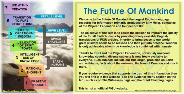 The Future Of Mankind  Welcome to the Future Of Mankind, the largest English-language resource for information primarily produced by Billy Meier, contactee of the Plejaren Federation and founder of FIGU.  The objective of this site is to assist the mission to improve the quality of life for all Earth humans by providing freely available English translations of FIGU articles. In order to bring peace to our world, great wisdom needs to be realised and then put into practice. Wisdom is only…