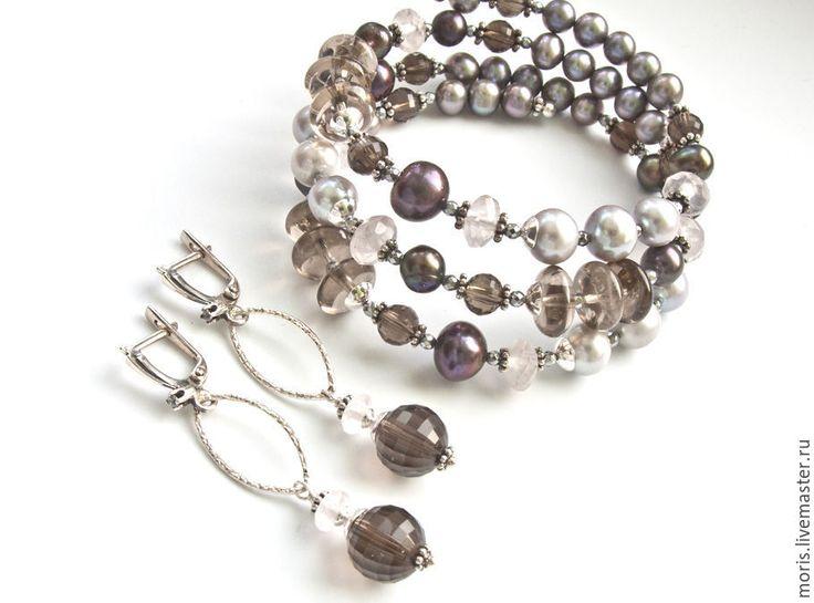 """Купить Комплект браслет и серьги """"Жазмина"""" жемчуг кварц серебро... - браслет из камней, браслет с серебром"""