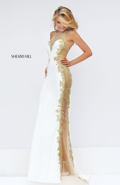 White/gold sexy wedding dress