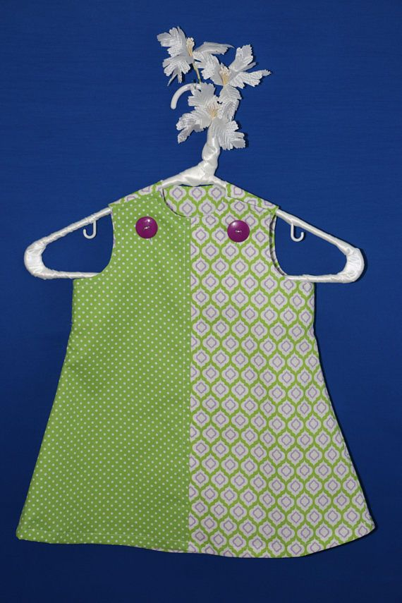 Polka Dots and Moroccan Motif Jumper Dress, Infant Size M, Green and Purple Jumper, Summer Dress, Pinafore Dress, 6-9 months