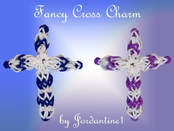 New Fancy Cross Charm - Monster Tail or Rainbow Loom tutorial by Jordantine1