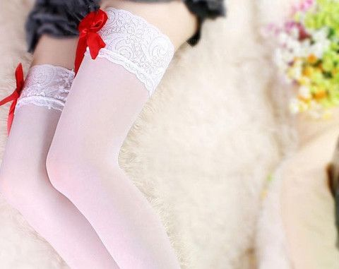 Splicing Lace Bowknot Embellished White Stockings – teeteecee - fashion in style