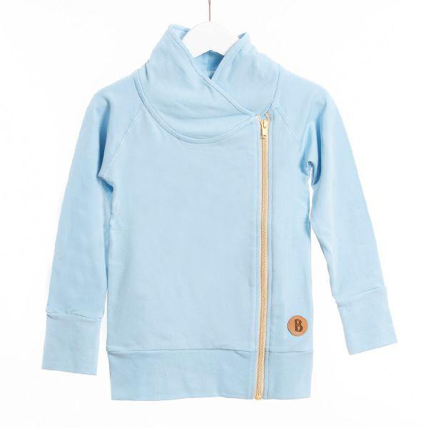 Huputon huppari, jossa tyylikkästi toteutettu kaulus.Käytettävissätakkina lämpimällä ilmallatai huputtomuutensa ansiosta talvella menee hyvin takin alle.Kullan värinen vetoketju.Laadukas neulos on 95% luomupuuvilla / 5% elastaani.Valitse koko, joka on lähimpänä lapsen todellista kokoa.Pesu 40 asteessa, ei rumpukuivausta.