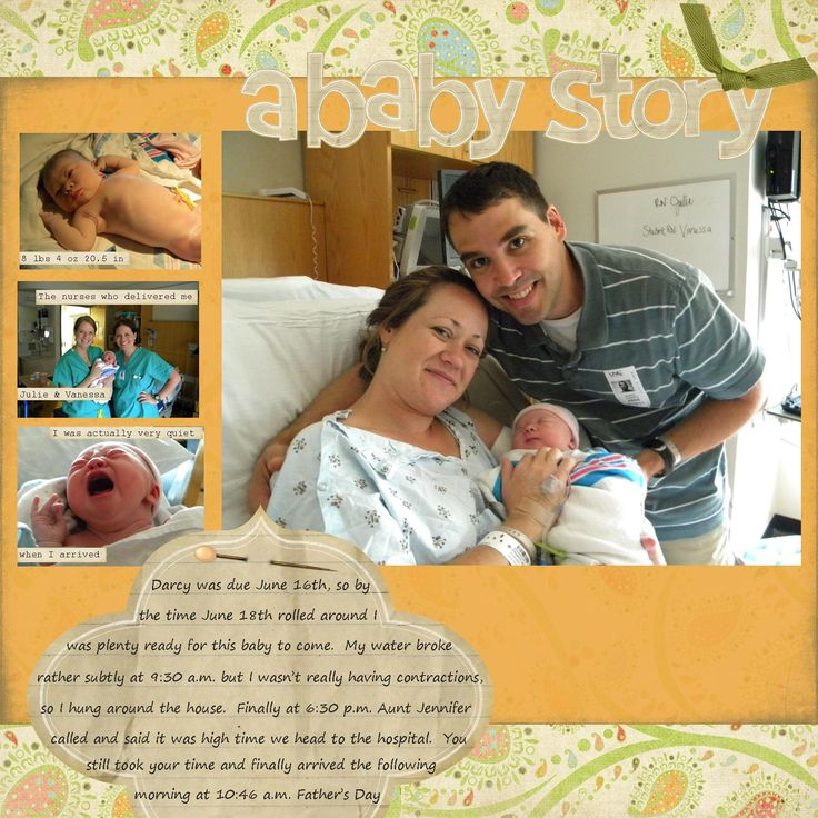 a baby story - Scrapbook.com - Such a pretty layout to welcome your new arrival! #scrapbooking #layout #digital #baby