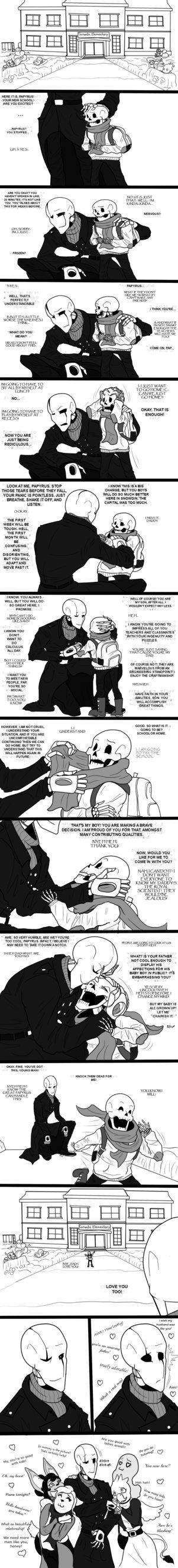 Dadster and Papyrus comic - this is so cute!!!!!<<I love the comics where Gaster is a good dad to Sans and Papy