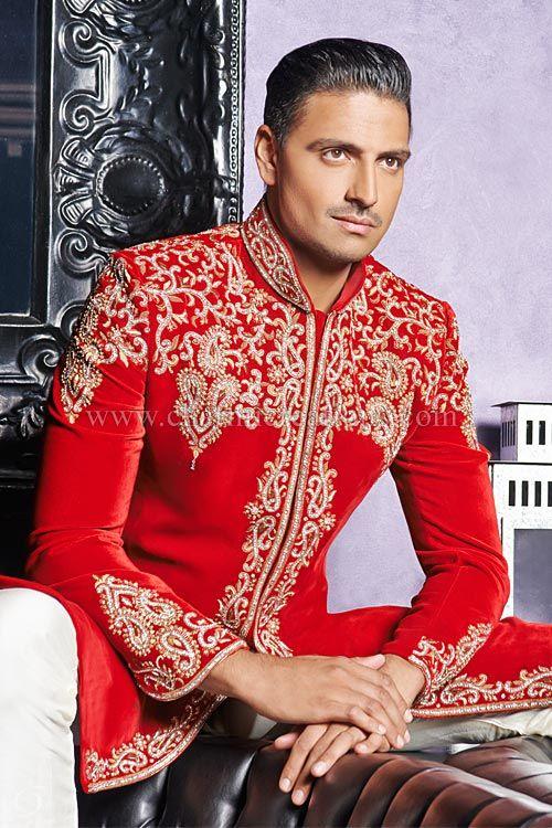 Wedding Sherwani - Red luxurious velvet traditional Asian sherwani with jardosi and diamante embroidery
