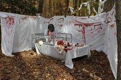 Halloween decorating ideas insane asylum cute window for Haunted woods ideas