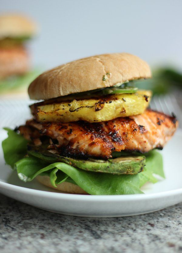 Tropical Salmon Burgers with Grilled Pineapple and Avocado...so good.  Had ppl over. They loved them.