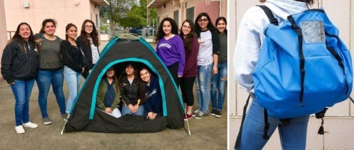 Garotas do Ensino Médio criam barraca solar (que vira mochila!) para moradores em situação de rua