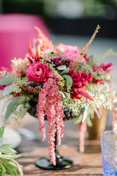 12 Amaranthus Flower Arrangements: Pink amaranthus + hot pink flower + greenery wedding centerpiece {Ooh! Events}