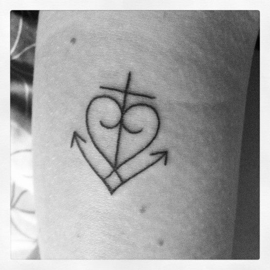 anchor , cross , heart combined . tattoos