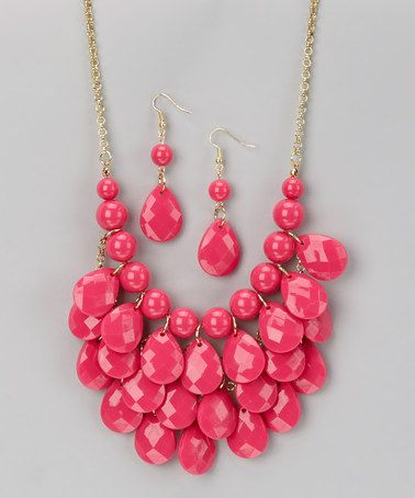 Loving this Hot Pink Waterdrop Necklace & Earrings on #zulily! #zulilyfinds