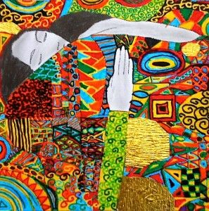 Observing the technique of this painter we made some drawings where the realistic details emerge from a carpet of decorations abstract, refined textures with golden and silver inserts. The areas of the faces, hair and hands are made in pencil, with soft shadows, while backgrounds and dresses are made with color felt tip pens, and enriched with fragments of gold paper. Here are your creations that have undoubtedly something magical.