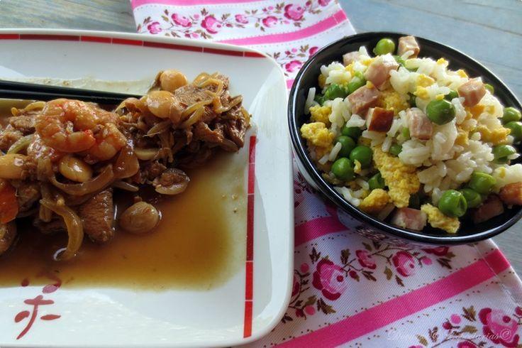 Doçuras & Especiarias: Peito de Frango, Camarão e Amêndoa com Legumes em Molho Asiático e Arroz Xau-Xau