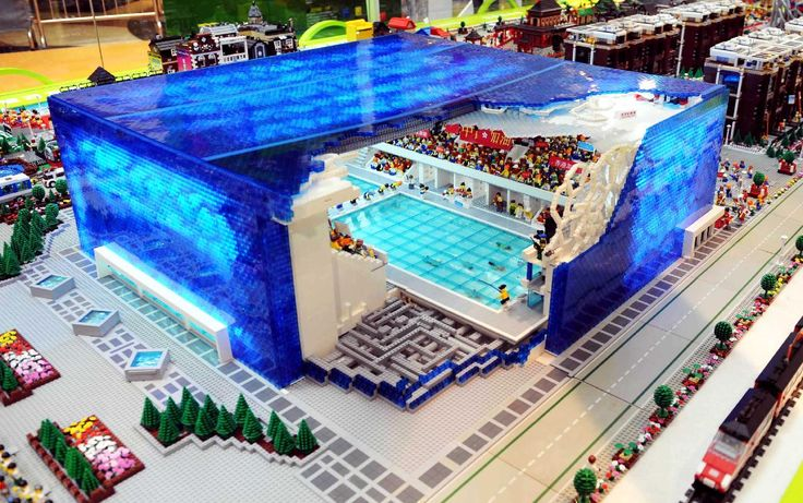 omg OBSESSED with this. Water Cube ala Beijing Olympics...out of LEGOs... Amazeballs.