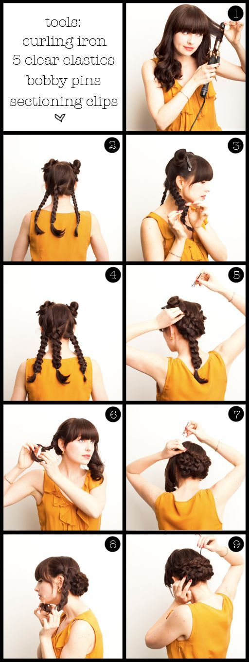 Ah-ha I have found it! Saw this one a while ago and tried it, but without the two top side plats and also without curling my hair first. Got so many comments about it, and was so easy to do! Could also add some flowers etc.