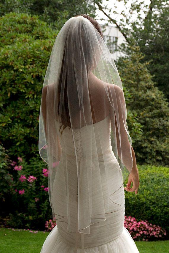 "Fingertip Veil, 1/4"" Metallic Gold trim, Single layer, Bridal Veil, Bridal Accessories, Ivory veil, Diamond White Veil, White veil. on Etsy, $114.88"