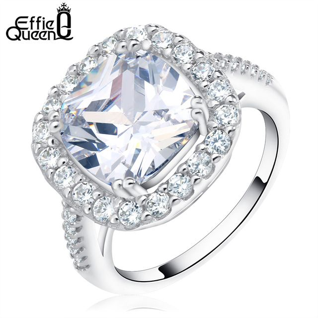 Buy now Effie Queen Wedding Engagement Rings for Women Jewelry Rings Luxury Cushion Cut AAA Zirconia Ring Accessories Bijou DR96 just only $5.42 with free shipping worldwide  #weddingengagementjewelry Plese click on picture to see our special price for you