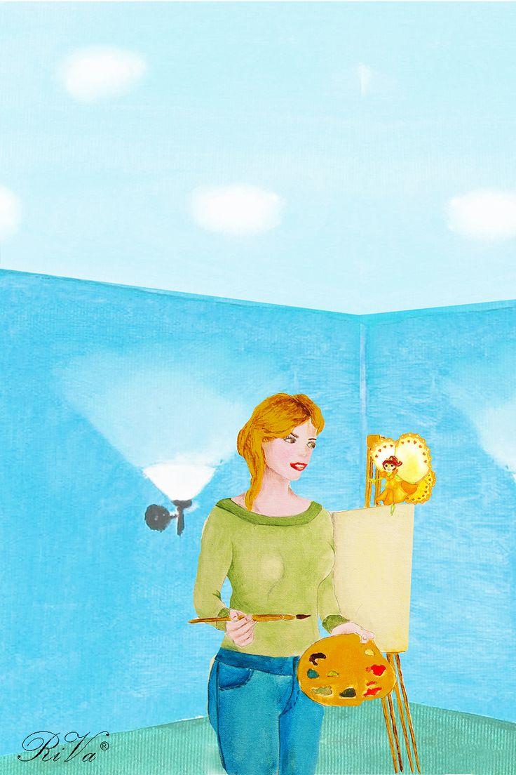 """Marianna, maestra d'arte del vicino paese di """"Pitturiamoli"""", accoglie in casa sua la farfalla dalle ali gialle. @rosalucebooks"""