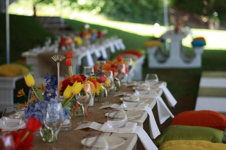 Garden Wedding - Colourful Flowers Brighten up any Table www.bedouinevents.co.za