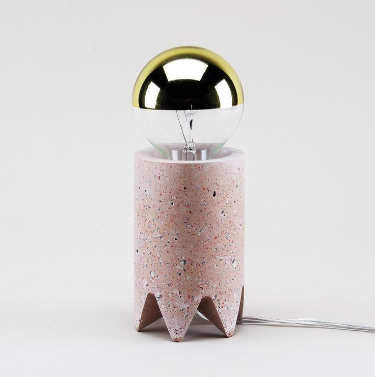Cast concrete table lamp