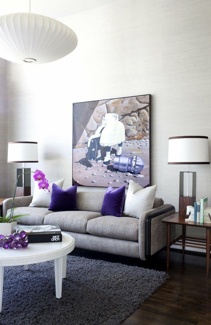 Grey Sofa Modern Living Room Purple Accents