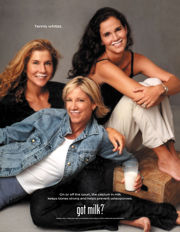 "Women of the WTA...3 great gals....EXCEPT when Monica hooks on a clay court...just sayin ;) ""Got Milk?"" ad (Monica Seles, Chris Evert and Mary Joe Fernandez)"