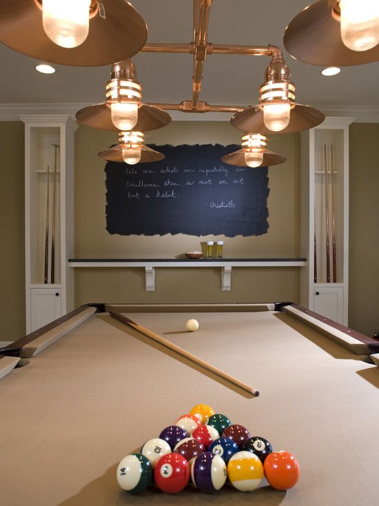 Chalkboard to keep score, shelf/drink ledge. Spaces Basement Game Room Design, Pictures, Remodel, Decor and Ideas - page 16