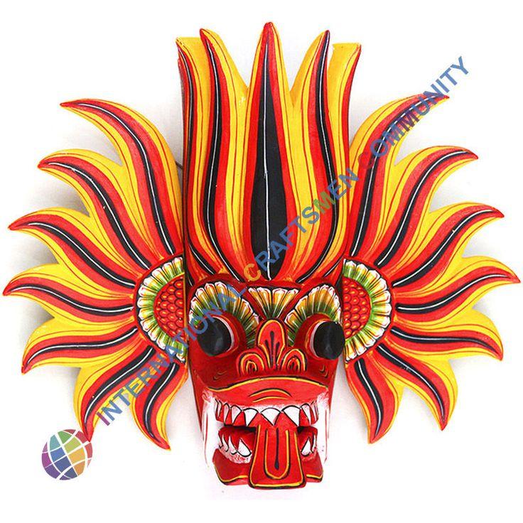 Handmade Traditional Sri Lanka mask Gini Raksha, talisman
