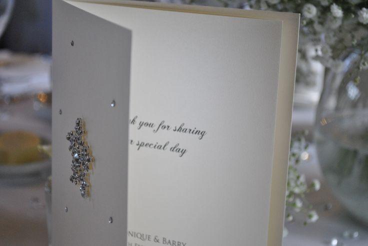 Crystal snowflake wedding menu.