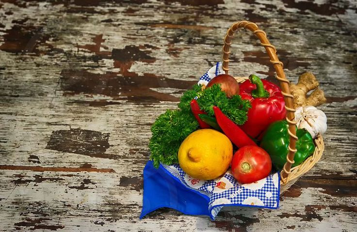 Photo by Neilstha Firman - basket, fruit, herbs, vegetables, wood, rusty