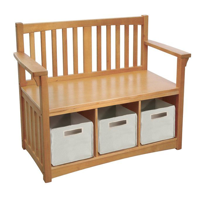 Traditional styling in a handsome honey-oak stain. Solid hardwood birch legs and posts and birch veneers with a rough UV finish combine to create a collection that can withstand the rigors of daily use. Works beautifully in a playroom, family room or kids room. The collection boasts a great selection of storage, seating and accessory pieces. Ages 2+ Bench with three storage compartments; includes three storage bins.