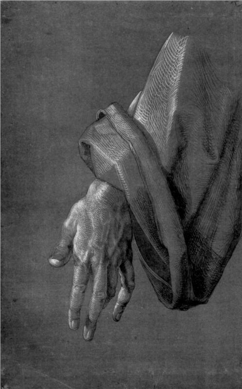 "Page: Left Hand of an Apostle  Artist: Albrecht Durer  Style: Northern Renaissance  Series: Study on ""Heller Altarpiece""  Genre: sketch and study  Technique: ink: Northern Renaissance, Art Schools, Albrecht Durer, Study Techniques, Renaissance Series, Albrecht Dürer, Left Hands, Apostle Artists, Durer Style"