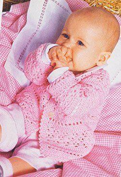 Схема вязания крючком, пуловер, жакет, шапочка и пинетки для новорожденного