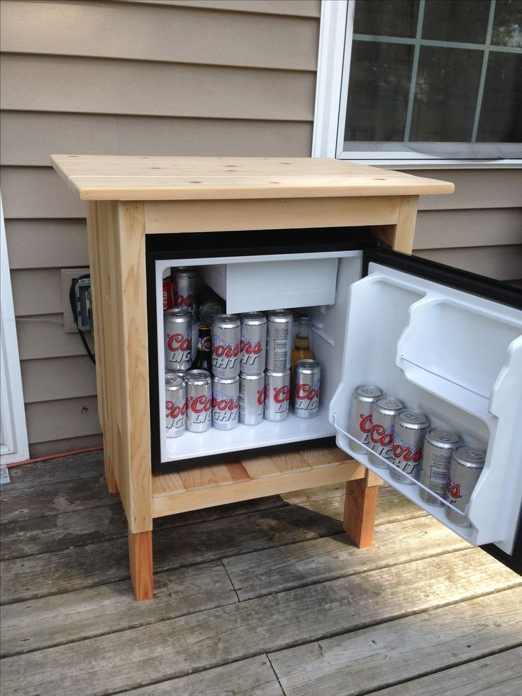 Dorm fridge turned outdoor refrigerator man cave for Outdoor kitchen refrigerators built in