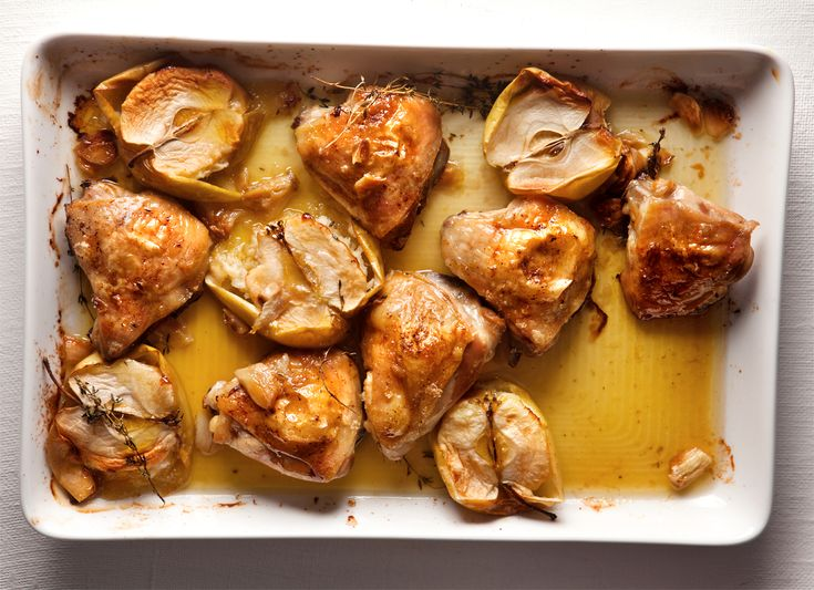 Chicken tray bake with roast apples and thyme | Woolworths TASTE