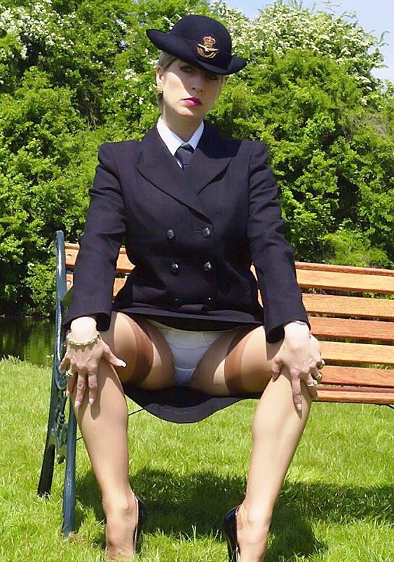 upskirt Military pantyhose