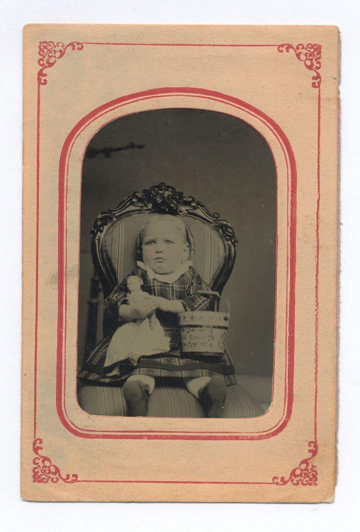 1870s 1880 s superb closeup tintype photo kid w good boy sand pail doll