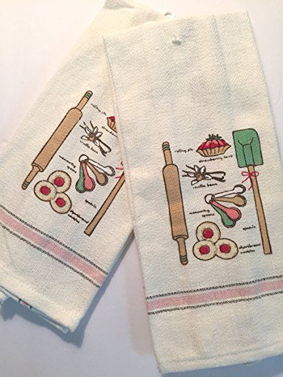 kitchen towels for home bakers set of 2 ivory absorbent 100 cotton - Kitchen Towel Sets