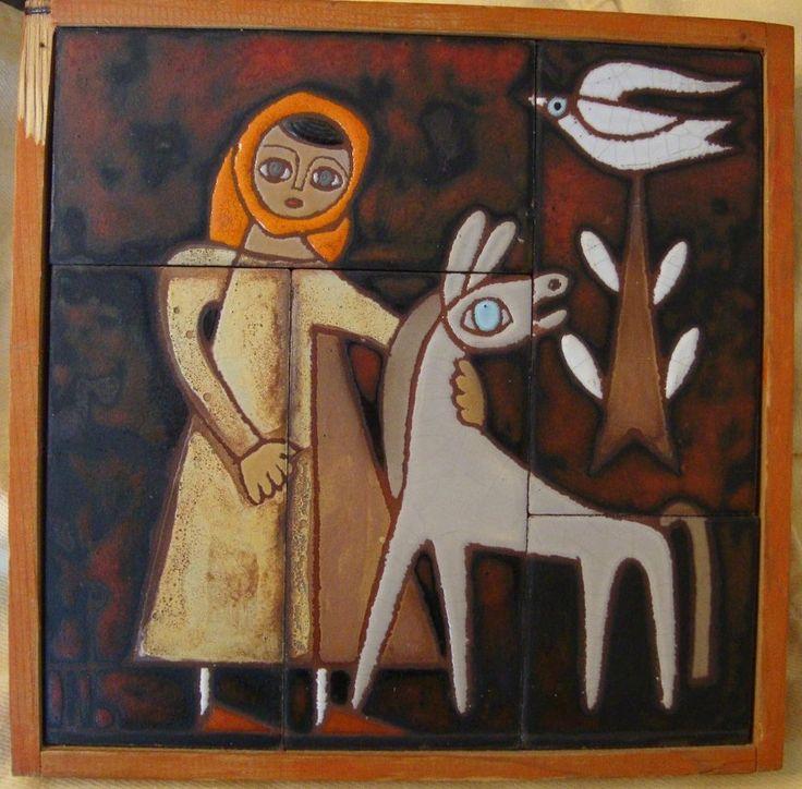 Panos Valsamakis Art Pottery Tile Girl Mule Dove Tree