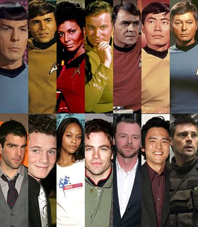 "From Left to Right  Top: Leonard Nimoy, Spock; Walter Koenig, Checkov; Nichelle Nichols, Uhura; William Shatner, Kirk; James Doohan, Scotty; George Takei, Sulu; Deforest Kelly, McCoy ""bones""  Bottom: Zachary Quinto, Spock; Anton Yelchin, Checkov; Zoe Saldana, Uhura; Chris Pine, Kirk; Simon Pegg, Scotty; John Cho, Sulu; Karl Urban, McCoy ""Bones""."