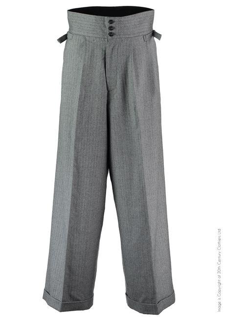 1920s1930s mens wide swing pants - The Ritz Oxford Bags - Grey Herringbone £125.00 AT Vintagedancer.com