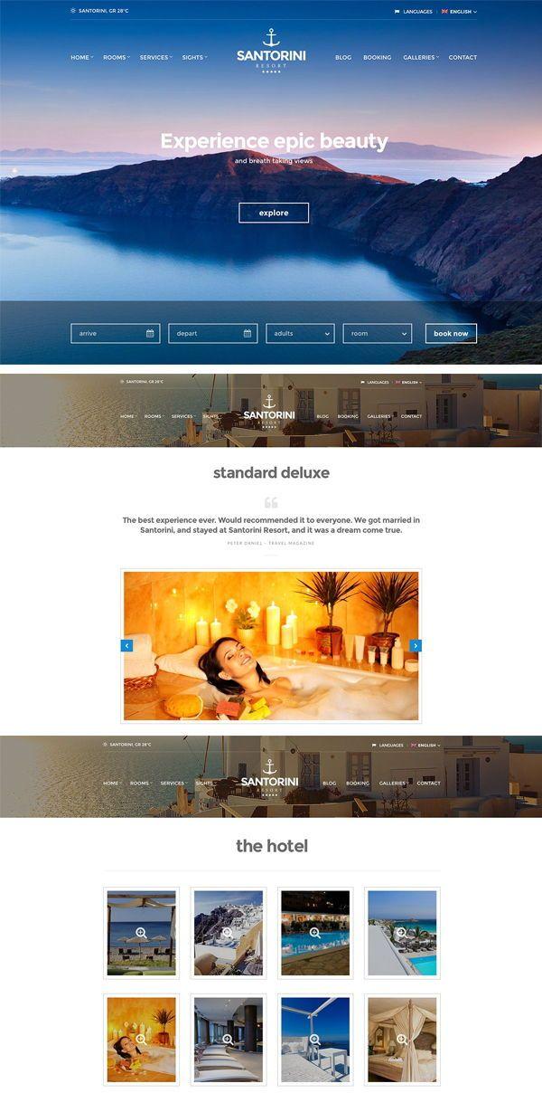 Santorini Resort Hotel Theme Hotel Website Design Santorini