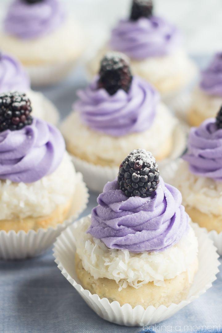 Blackberry Coconut Cupcakes- oh my! So dreamy and light, and that blackberry filling was such a fun surprise! #dessert #recipes #easy #sweet #recipe