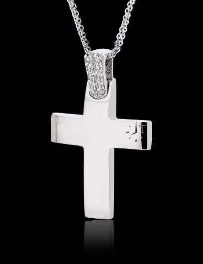 Σταυρός Βάπτισης ValOro με Αλυσίδα για Κορίτσι από Λευκό Χρυσό Κ14 με Πέτρες Ζιργκόν