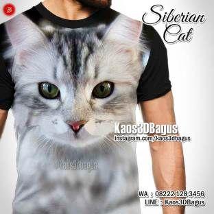 Kaos KUCING, Kaos3D, Kaos CAT LOVER, SIBERIAN CAT, Kaos GAMBAR KUCING, Kaos KUCING LUCU, https://instagram.com/kaos3dbagus, WA : 08222 128 3456, LINE : Kaos3DBagus