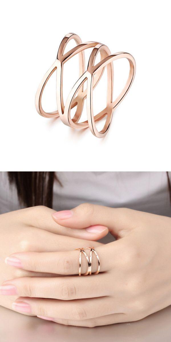 »Rose Gold Multirow Single Ring«...
